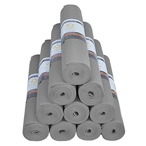 """Sunshine Yoga Voyage Yoga Mats - Wholesale 10 Pack - (72"""" x 24"""" x 5mm) - Easy to Clean - Anti-Tear - Thick - Studio Performance (Cool Gray)"""
