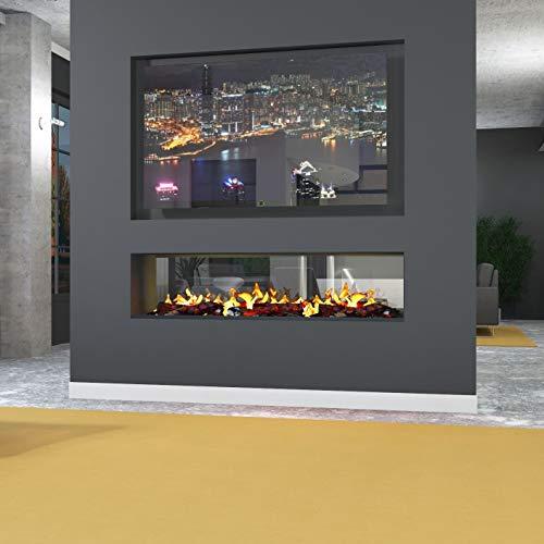 muenkel design e-Tunnel PRO - Opti-Myst Elektrokamin mit Heizung 2000W / Dekoholz -Breite 800 mm - ohne Glasscheibe, externer Wasseranschluß