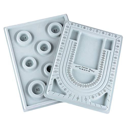 SUPVOX Bordo di progettazione perline Piastra quadrante perline fai da te per gioielli Perline Collana Bracciale Creazione vassoio 2 pezzi