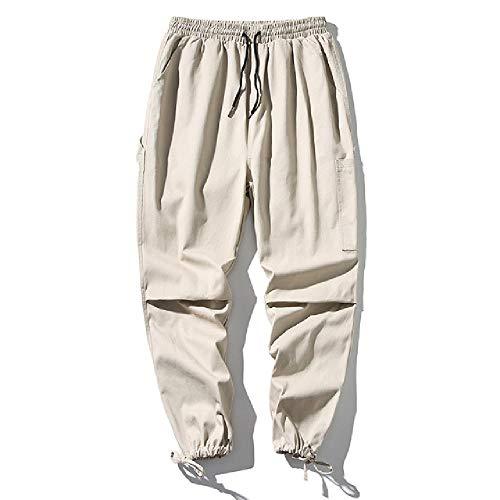 Baumwoll-Trainingshose Herrenmode Einfarbig Lässig Overalls mit Mehreren Taschen Man Streetwear Hip-Hop-Hose mit Lockerem Werkzeug M-5XL