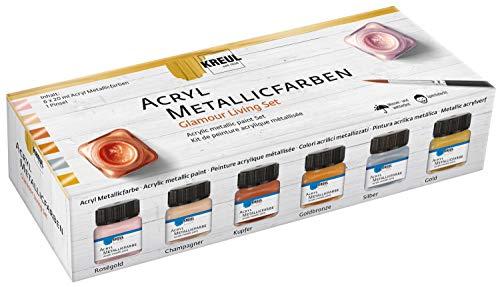 Kreul 77601 - Acryl Metallicfarben im Color Living Set, glamouröse Acrylfarbe mit Metalliceffekt auf Wasserbasis, cremig deckend, schnelltrocknend und wasserfest, 6 x 20 ml Farbe und ein Pinsel