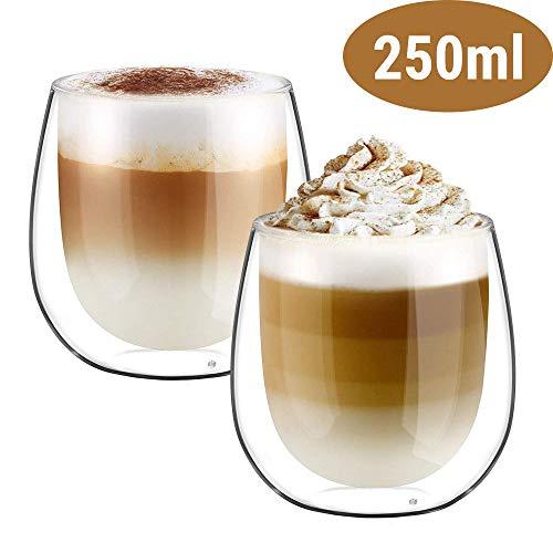 Glastal 250ml Vaso de Vidrio de Borosilicato de Aislamiento Térmico de Doble Pared para Café, Leche, Té y Más, Conjunto de 2