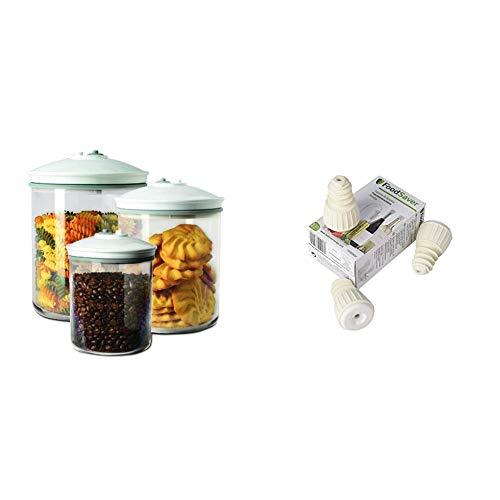 Foodsaver FSFSBS0024-050 Vakuum-Flaschenverschlüsse/Wiederverwendbar Stopper/Vakuumierer + Foodsaver FSC003-I Vakuum Behälterset, spülmaschinengeeignet, mikrowellengeeignet, Vakuumierer