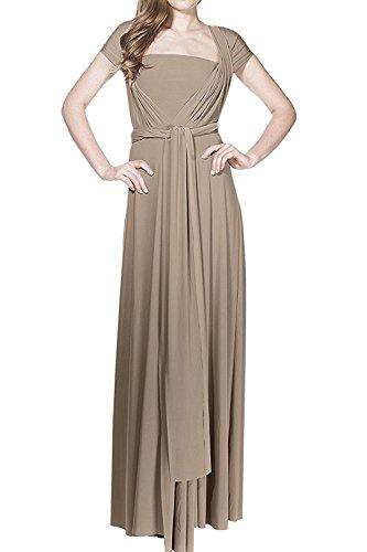 Damen Transformer Abendkleid lang Ballkleid MEHRWEG Wrap wandelbar bodenlang Hochzeit Halfter Maxi Kleid hohe Elastizität - Braun - X-Groß
