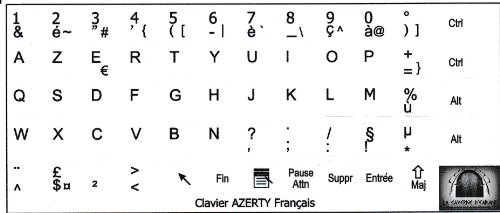 Pegatinas para teclado francés AZERTY 10 x 11 mm, color blanco