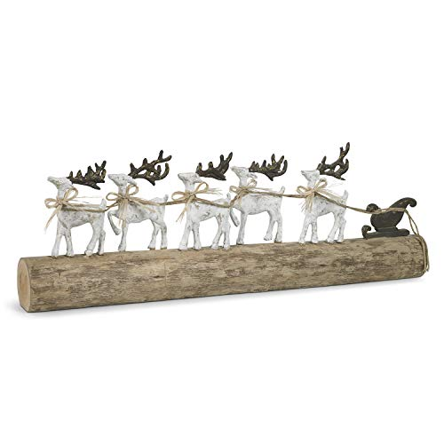 Moritz Rentiere Dekoration einzigartig 74 x 9 x 29 cm mit Schlitten Rentierschlitten Holzfiguren Rentiere Weihnachten Deko Weihnachtsdeko Holz