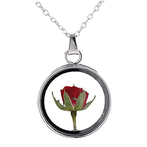 Onsinic 1pc Rose Collares Pendientes De Muestras Secas De Joyería De Cristal Redonda Flores Planta Camafeo Rose Regalo para Muchacha De Mujeres
