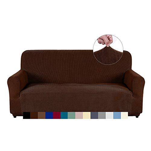 AUJOY - Funda elástica para sofá de 3 cojines, tela elastano Jacquard, protector de muebles, con espuma antideslizante, Café oscuro,...