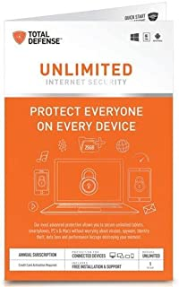 Total Defense Unlimited Internet Security for Unlimited Devices, Key Card