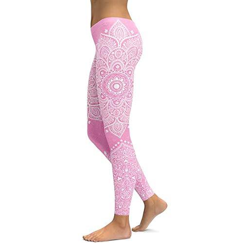Leggings Mujer Mallas De Deporte,Rosa Claro Mandala Impresión Alta Cintura Tummy Control Push Up Tight Pantalones Suave Cómodo Pantalones Elásticos Para Gimnasio Deportes Fitness Ciclismo Entrenam