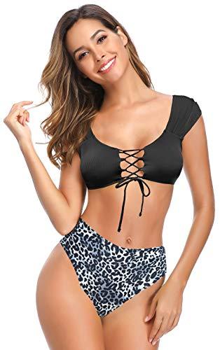 SHEKINI Damen Bikini-Set Bikini Gerippt Verstellbarer Kordelzug Ties-up Sportlich Weste Bikinioberteil Zweiteiliger Badeanzug high Waist Triangel Gedruckt Bikinihose Bademode (Schwarz, M)