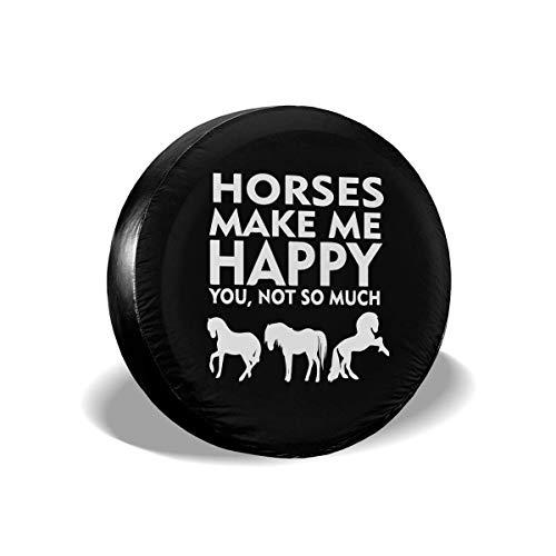 Beth-D Spare Tire Covers Paarden Maak Me Gelukkig Je Niet Zo Veel Stof-Proof Waterdichte Zon Beschermers Universele Wiel Cover 14-17inch