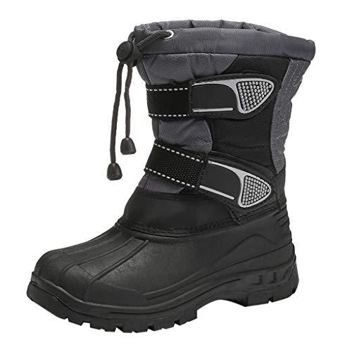 Yowablo Stiefel Kids Baby Schneeschuhe Outdoor Sport Winter Warme Stiefel wasserdichte Plattform Stiefel Baumwollschuhe (2-2.5 Jahre,Grau)