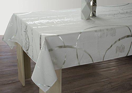 Le Linge de Jules Nappe Shiny - Entretien Facile Blanche - Taille : Rectangle 150 x 300 cm