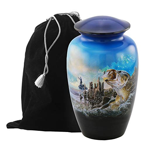 Eternitymart's Aesthetic Painted Cremation Urn - Affordable Metal Urn - Hand Painted Solid Metal Urn for Ashes, Adult Cremation Urn with Free Velvet Bag (Fishing)