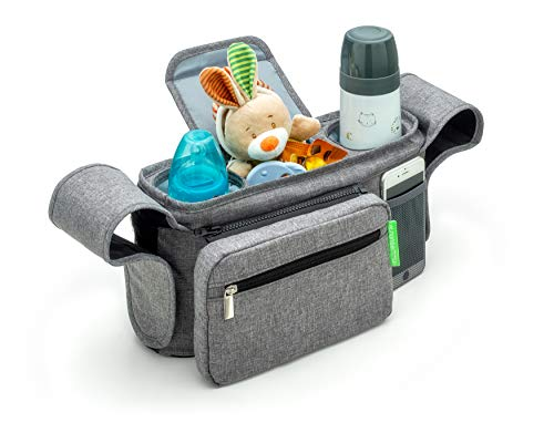 Ethan & Emma Gray Universal Stroller Organizer with Insulated Cup Holders - Extra Storage for Keys, Phone, Toys, Diapers, Bottles - Detachable Pouch - Great Baby Shower Gift - Smart Moms On The Go