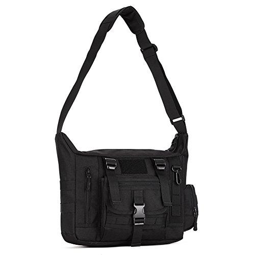 Huntvp Taktisch Schultertasche Militär Crossbody Bag Sling Tasche Wasserdicht Umhängetasche Messengerbag Aktentasche mit Verstellbar Schultergurt Outdoor - Schwarz