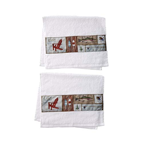 The Lakeside Collection Gone Fishing Bathroom Hand Towels - Set of 2 Lodge Themed Wipes