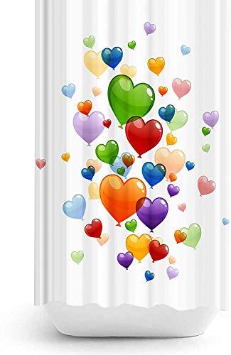 Duschvorhang Digitaldruck Modern Design Polyester Stoff Wasserdicht Waschbar Schimmel & Mehltau widerstandsfähig mit Haken enthalten (Hearts, 180x200 cm)