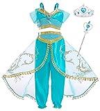 AmzBarley Niña Aladdin Princesa Disfraz Jazmín Tops Pantalones Traje Cosplay Actuación Carnaval Navidad Regalo Cumpleaños Danza Vientre