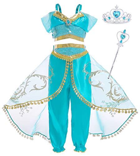 AmzBarley Mädchen Jasmin Kostüm Prinzessin Kleid Kinder Kleider Party Halloween Karneval Cosplay Geburtstag