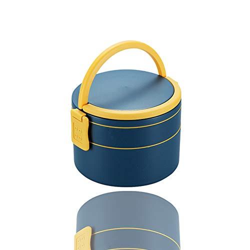 Fiambrera Bento Box a prueba de fugas, redonda, diseño de doble capa, para niños y adultos, para ensalada y aperitivos, color azul