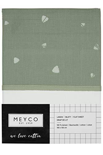 Meyco 433042 Bedlaken met omslaggrand SWEET TRIANGLE FOREST GREEN, 75x100 cm