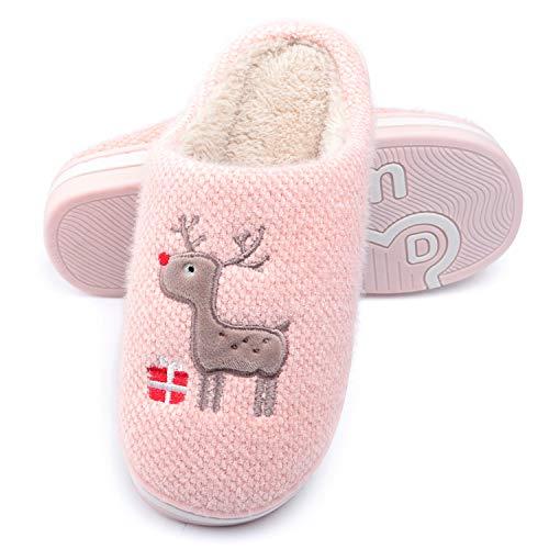 WINZYU Hausschuhe Damen Herren Plüsch Pantoffeln Warm Weich Bequem Rentier Geschenk Schlüpfen Flauschige Gästehausschuhe, Pink 36/37 EU