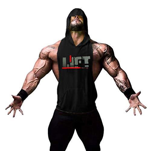 Befox Para Hombre Lift Culturismo Muscular Chaleco Camiseta de Tirantes Stringer Camisas Fitness sin Mangas con Capucha