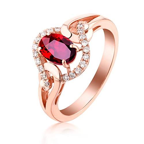 Adokiss Mujer oro rojo 18 quilates (750) talla ovalada rojo Ruby