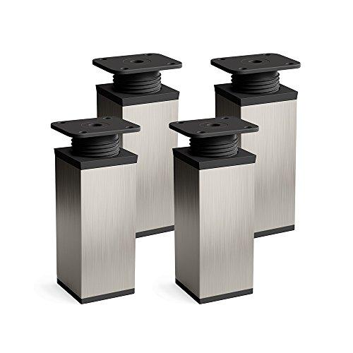 Design-Möbelfüße, 4er Set, höhenverstellbar | Vierkant-Profil: 40 x 40 mm | Sossai® MFV1-IX060-4 | Farbe: Inox | Höhe: 60mm (+20mm) | Material: Aluminium | Hochwertige Holzschrauben inklusive