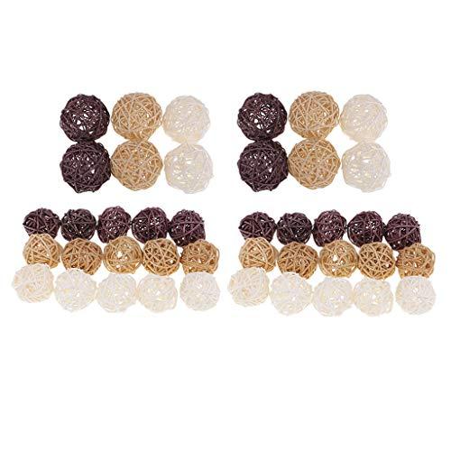Sharplace 42Pcs 3 / 7cm Natürliche Wicker Rattan Ball Hochzeit Holz Zweig Kugeln Garten Ornamente