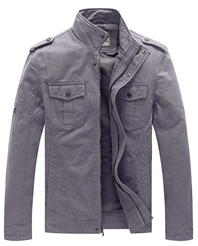 WenVen Men's Spring Military Outwear Jackets and Coats(Light Grey,M)