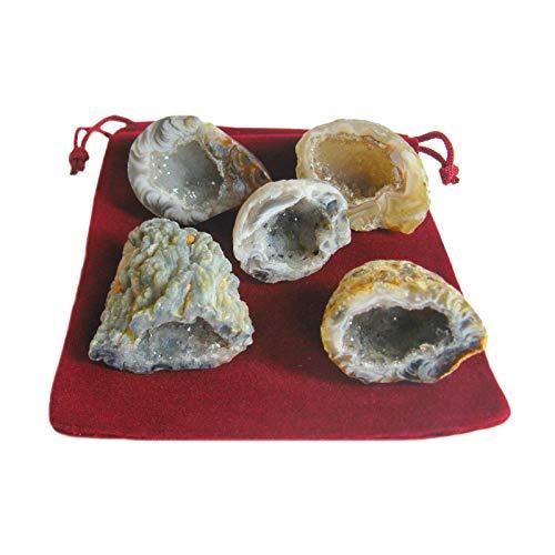 """Achat Geode Glücksgeode 11-teiliges Feen-Garten Edelstein Set """"M"""". 5 x ECHTE polierte Kristall-Drusen a je ca. 2,5-3 cm mit 5 x Beschreibungen + Täschchen. 60020"""
