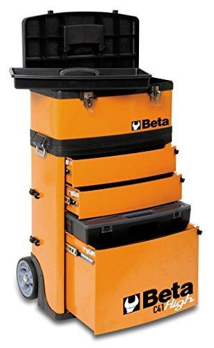 Beta C41H High Trolley Porta Attrezzi Professionale con Ruote da 160 mm, 2 Moduli Estraibili: 1 Cestello Porta Attrezzi Superiore e 1 Valigetta Attrezzi con Due Cassetti Altezza 95 mm, Giallo