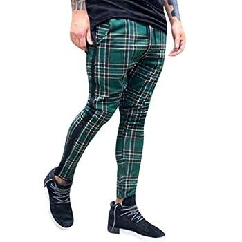 Men s Plaid Track Pants Casual Slim Fit Trousers Stretch Waist Stripe Joggers Long Pant  XXXL Green