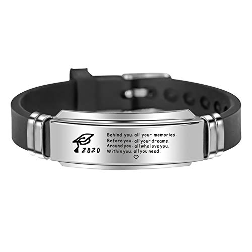 TOOPNK 2020 Graduation Gifts for Him, Black Silicone Bangle Bracelet for Boyfriend, Senior 2020 Gifts for Men Brother Boys High School Graduation Gifts (A:Behind You)