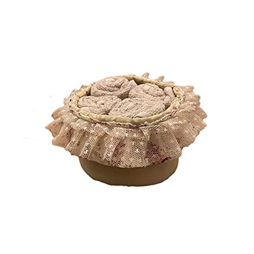 ATELIER17 Juego de 4 paños de Esponja con Cesta de algodón Plie 'con Rosas 3 Variantes Beige