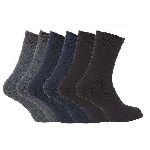 Floso - Chaussettes thermiques 1.9 tog (lot de 6 paires) - Homme (EUR 39-45) (Couleurs foncées assorties)