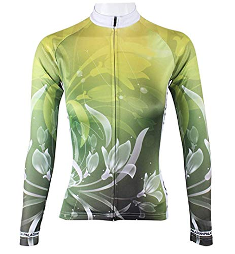 BININBOX® Damen Radtrikot Radsportbekleidung Fahrradbekleidung Langarm Shirt Lilie in Grün (De.XL/Hersteller Gr.3XL)