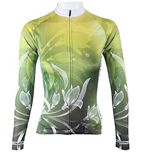 BININBOX® Damen Radtrikot Radsportbekleidung Fahrradbekleidung Langarm Shirt Lilie in Grün (De.M/Hersteller Gr.XL)
