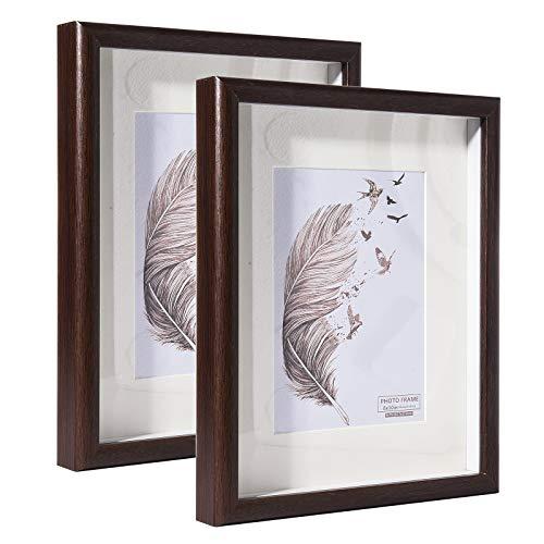 Metrekey 20x25 cm Bilderrahmen 3D Tief mit Glas zum Befüllen, Hozl Rahmen mit Passepartout für 13x18 cm, 2er Set, Braun Fotorahmen für Tischdisplay und Wandbehang