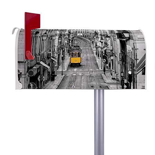 BANJADO US Mailbox | Amerikanischer Briefkasten 51x22x17cm | Letterbox Stahl weiß | mit Motiv Lissabon | inklusive silbernem Ständer