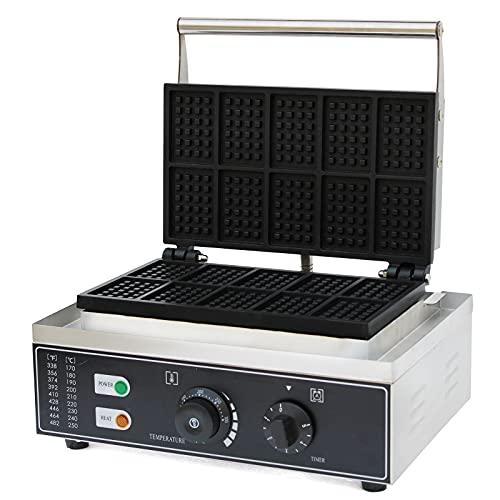 Gofrera comercial de 1500 W, eléctrica, antiadherente, teflón, regulación de tiempo y temperatura