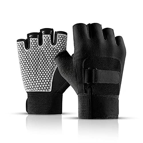 Guanti Ciclismo, Antiscivolo Shock-assorbente Pad Traspirante Mezza Finger Gloves Bicicletta Bike Guanti, Fitness Formazione Ciclismo Sport All'aria Aperta Delle (XL,Black)