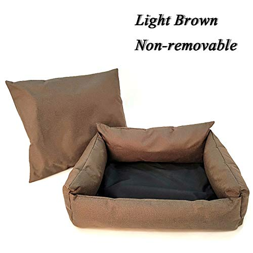 Dog Pet Bed Small Dog Sofa Cat Waterproof Bottom Durable Dog Bed Breathable Soft Oxford Dog Bed Pet Products Comfortable (Color : Brown Dog Bed, Size : L 65x55x21cm)