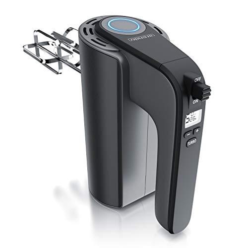 Arendo - Elektrischer Handmixer – Handrührer mit 5 Geschwindigkeiten inkl. Turbofunktion Edelstahl - Soft Touch Gehäuse – Hakenentriegelung – Turbotaste - GS