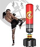 Dripex Saco de Boxeo de Pie para Adultos, Compañero de Boxeo de MMA, Entrenador de Boxeo, Resistente, con Base de Succión, Rellenable de Arena 80kg /Agua 60kg Aprox (Rojo)…