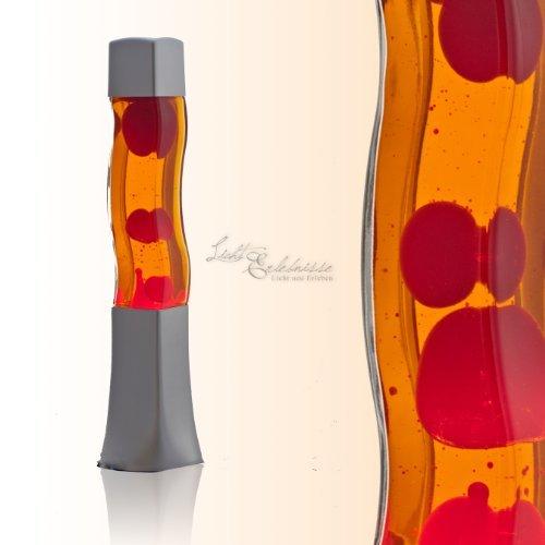 Aufregende Lavalampe Rot Orange 42cm hoch Wellenform Stimmungslicht Tischlampe Jugendzimmer Wohnzimmer