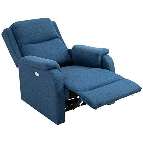 homcom Poltrona Relax Elettrica con Schienale Reclinabile 160°, Poggiapiedi e Porta USB, Lino Blu, 77 x 91 x 106cm